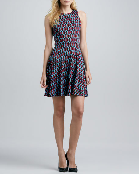 Flirty Sleeveless Geo-Print Dress