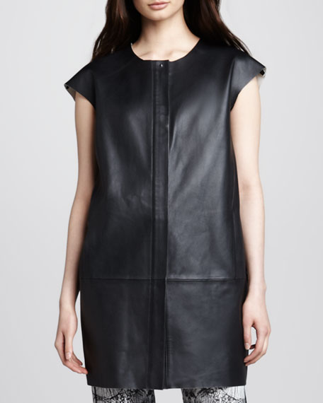 Isobel Short-Sleeve Leather Jacket Dress