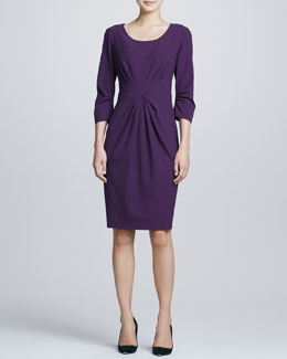 Neiman Marcus 3/4-Sleeve Center-Pleated Dress