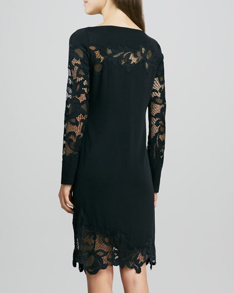 Ernestina Lace-Trim Long-Sleeve Dress