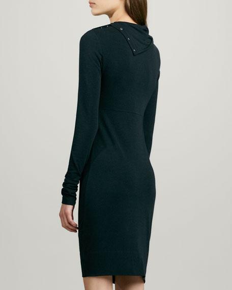 Turtle Knit Snap-Collar Dress
