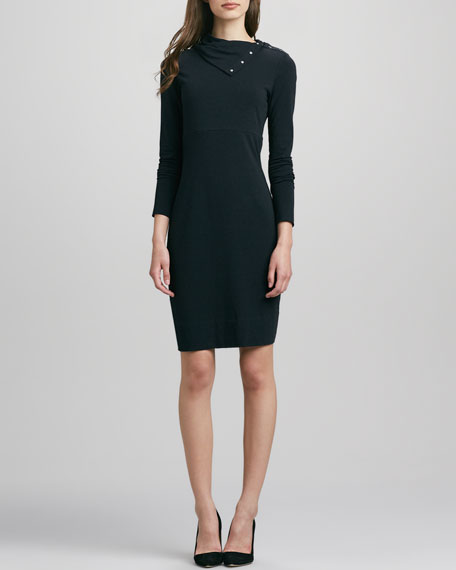 Turtle Knit Snap-Collar Dress