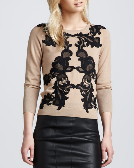 Shara Lace-Print Sweater