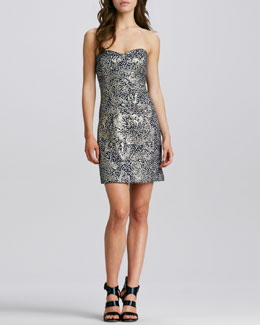 Milly Corsette Strapless Jacquard Dress