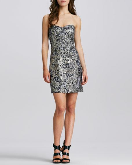 Corsette Strapless Jacquard Dress