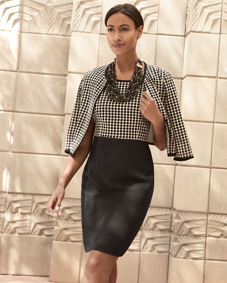 Albert Nipon Combo Dress & Dotted Jacket Set