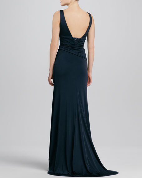 Sleeveless V-Neck Beaded Jersey Gown