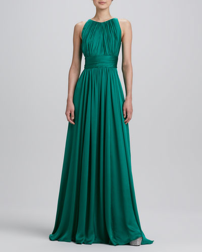 Badgley Mischka Sleeveless Pleated Gown