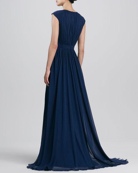 V Neck Beaded-Waist Gown