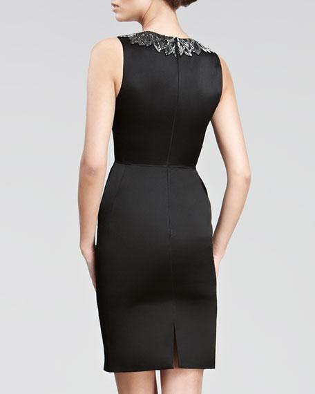 Beaded-Neck Satin Dress