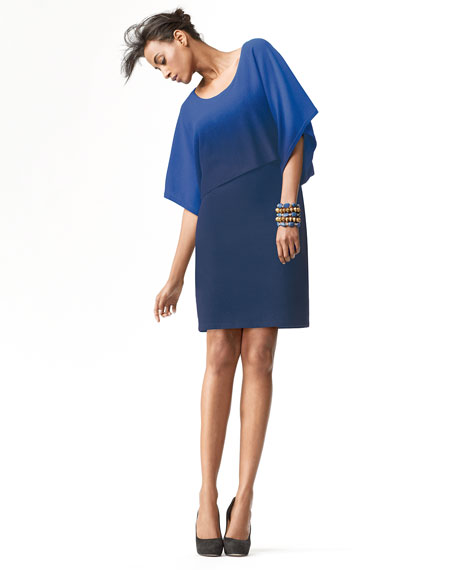 Drop-Waist Ombre Cashmere Dress