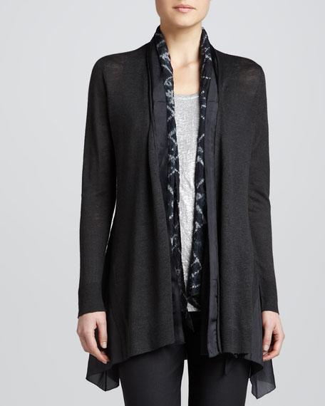 Linen Silk Long Cardigan, Petite