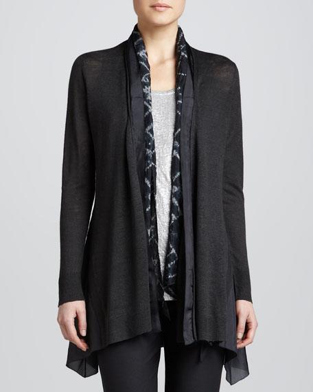 Linen Silk Long Cardigan, Women's