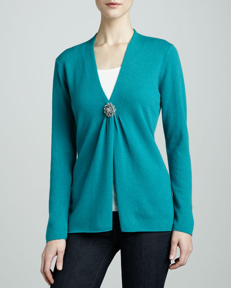 Cashmere Cardigan with Jeweled Button