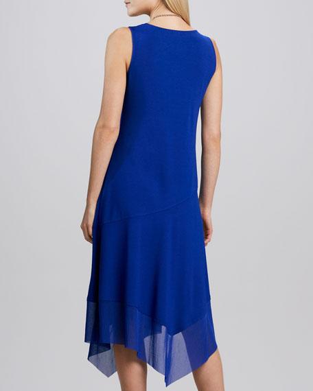Asymmetric Sheer-Hem Dress, Petite