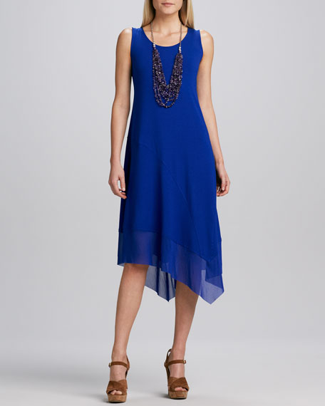 Asymmetric Sheer-Hem Dress, Petite