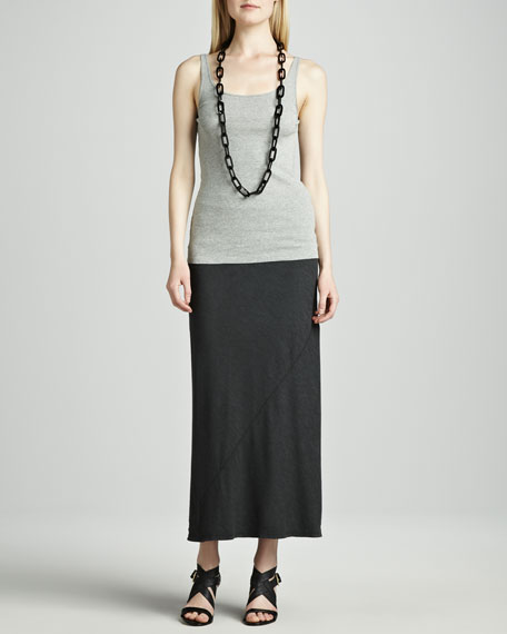 Long Diagonal-Seam Jersey Skirt