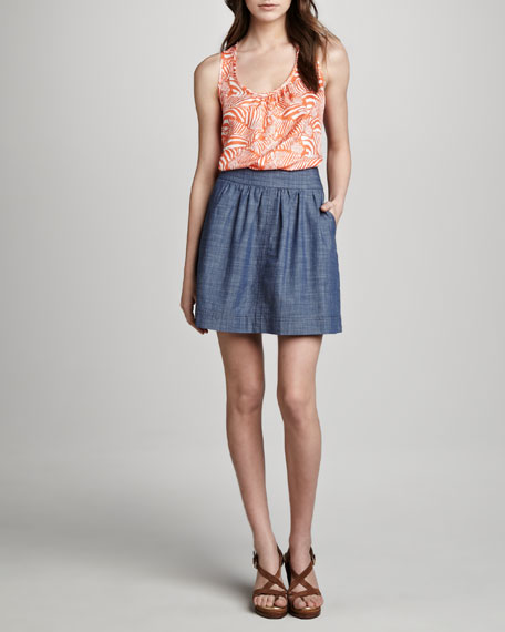 Coline A-Line Chambray Skirt