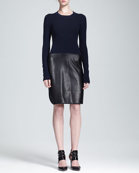 Two-Tone Knit & Leather Combo Dress
