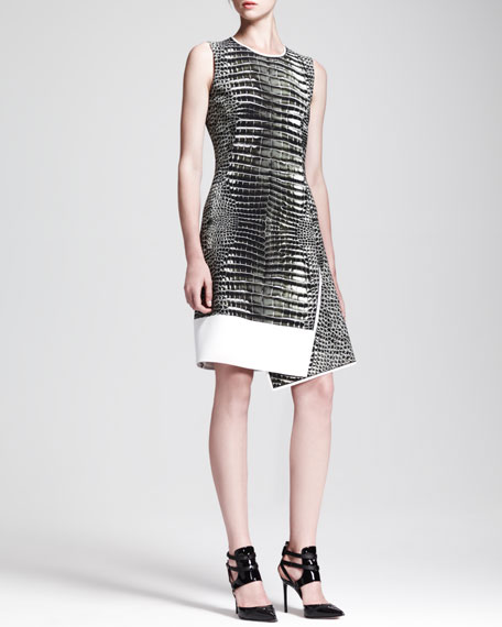 Asymmetric Alligator-Print Dress