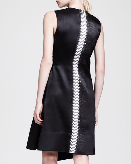 Asymmetric Contrast-Stripe Dress