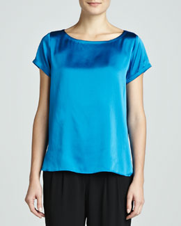 Eileen Fisher Charmeuse Boxy Boat-Neck Top