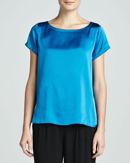 Charmeuse Boxy Boat-Neck Top, Petite