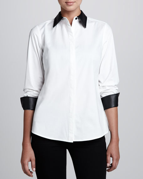 Shirt with Faux-Leather Trim, Petite
