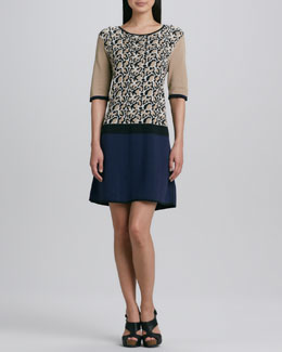 Joan Vass Animal-Print Colorblock Dress