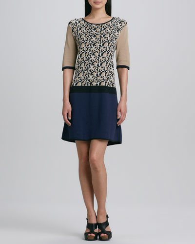 Joan Vass Animal-Print Colorblock Dress