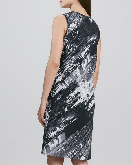Sleeveless Abstract-Print Shift Dress