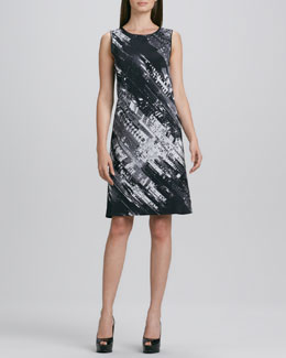 DKNY Sleeveless Abstract-Print Shift Dress