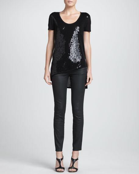 Coated Skinny Jeans, Black