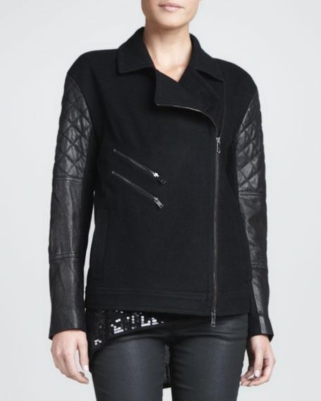 Leather-Sleeve Wool-Blend Jacket