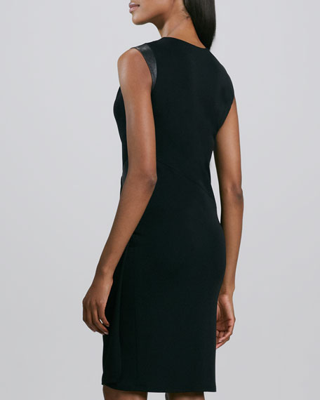 Asymmetric Leather-Trim Jersey Dress