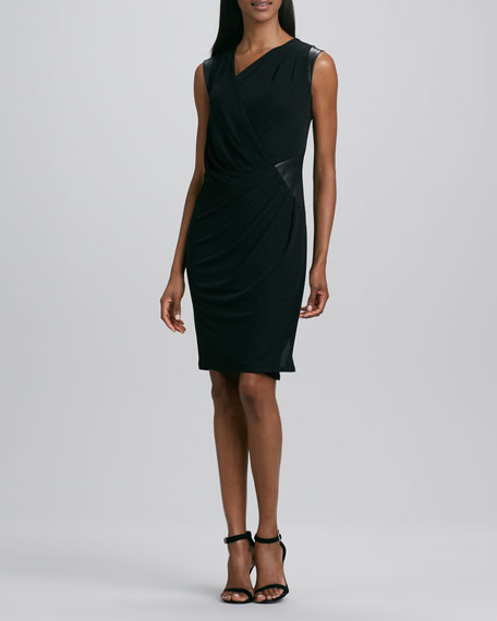 Asymmetric Leather-Trim Jersey Dress