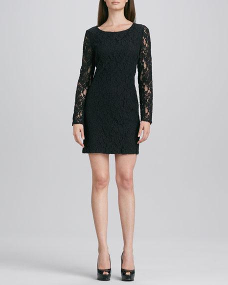 Long-Sleeve Lace Shift Dress