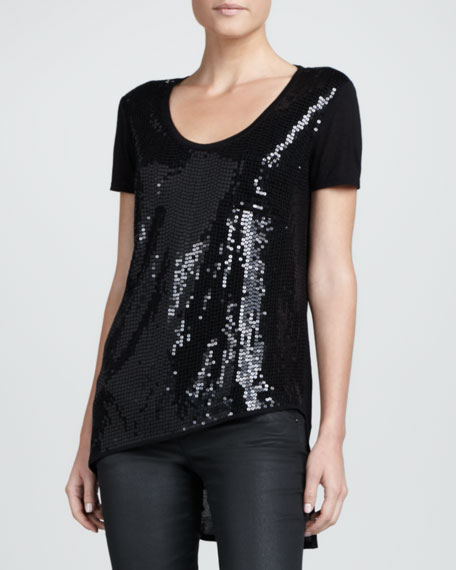 Sequined-Front Asymmetric Tee