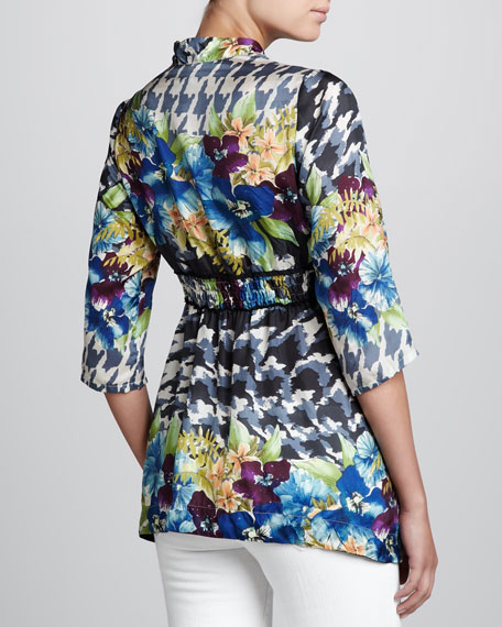 V-Neck Printed Blouse, Women's