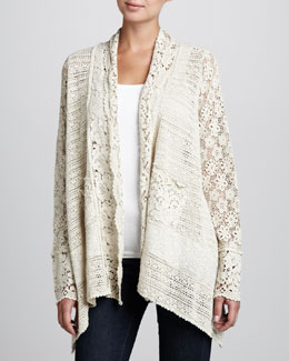 Johnny Was Collection Flower Tiles Crochet Jacket