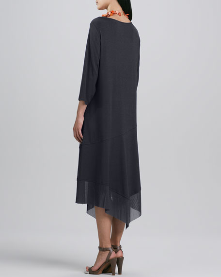 Asymmetric Sheer-Hem Dress, Women's
