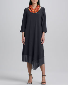 Eileen Fisher Asymmetric Sheer-Hem Dress, Women's
