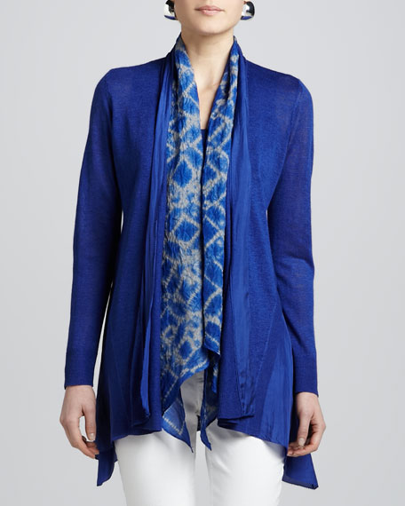 Blue Linen Silk Long Cardigan, Petite