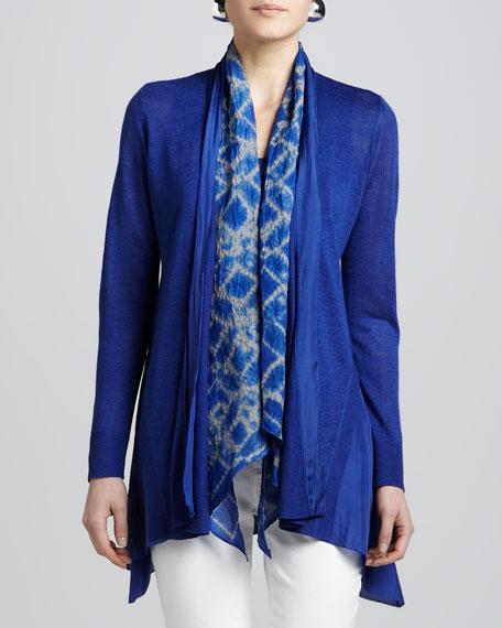 Blue Linen Silk Long Cardigan, Women's