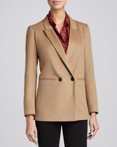 Double-Breasted Wool-Blend Jacket, Camel