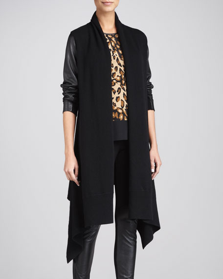 Leather-Sleeve Cozy Coat