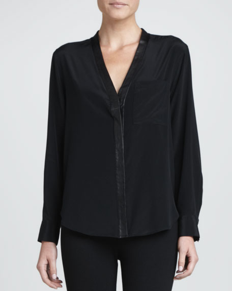 Leather-Placket Silk-Stretch Blouse