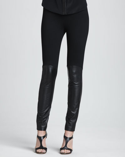 DKNY Leggings with Leather-Front