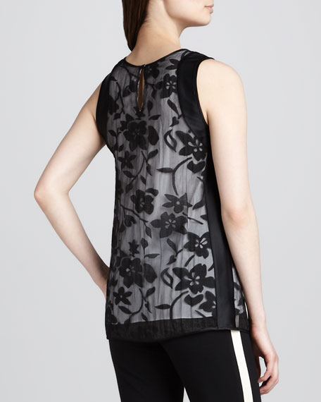 Sleeveless Lace-Overlay Top, Black