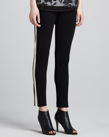 Tuxedo-Striped Skinny Pants, Black/Bone